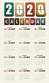 2020 Modern calendar template .Vector/illustration.