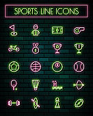 Sports sign thin neon glowing line icons set.vector illustration.