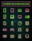 Retro Gatget thin neon glowing line icons set.vector illustration.