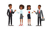 Vector illustration set of business characters. Collection of African American businessmen and businesswomen talking and smiling in flat cartoon style isolated on white background.