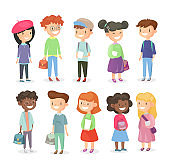 Vector illustration of pupils isolated on white background. Cute and happy girls and boys, schoolchildrens set in cartoon flat style.