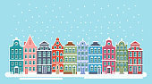 Vector illustration of cute snowy christmas town city panorama witht bright houses. Winter Christmas background, Amsterdam houses, background for bunners, greeting cards in flat style.