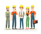 Vector illustration of workers team, engineers and builders dressed in protective vests and helmets. Workers in cartoon flat style isolated on white background.