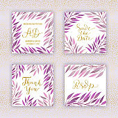 Wedding invitation card templates. Background of elegant branches with violet leaves. Save the date, Thank you hand-drawn lettering phrase. Golden glitter text.