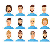 Male faces flat vector illustrations set
