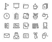 set of office icons, company, business, item