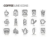set of coffee line icons, such as tea, matcha, lemon, cocoa, milk, cream, pot, drinks