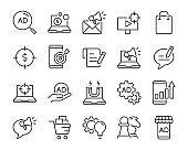 set of marketing icons, such as customer, analytics, advertise