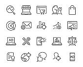 set of marketing icons, such as advertise, marketing online, marketing strategy, business, customer target