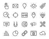 set of marketing analysis line icons