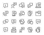 set of communication icons, such as talk, bubble, video conference, speech