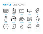 set of office icons, such as document, computer, calendar