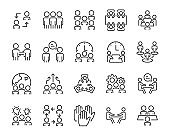 set of people icons, team, discussion, meeting time, member, business