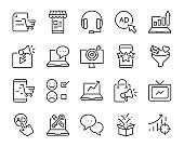 set of marketing icons, such as strategy, planning, service, campaign, customer target, social media ads