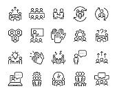 set of meeting icons, such as people, seminar, team, connection, training, group