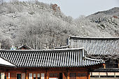 On a snowy day Korean traditional house in Jeonju, South Korea