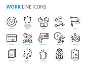 set of work icons, such as meeting, team, presentation, planning, strategy