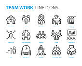 set of people line icons, such as team, meeting, video conference, group, management, leader
