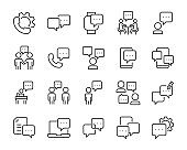 set of discussion icons, talk, social media, chat, communication