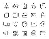 set of office line icons