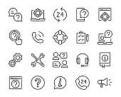 set of support icons, information, help, service, customer, contact