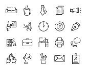 set of office line icons, such as document, job, company, meeting room