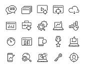 set of marketing icons, service, review, seo, online store