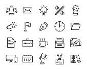 set of office icons, such as document, laptop, graph, note