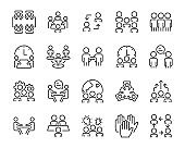 set of people icons, meeting, work, buisiness, skill, preformance, mangement, team, group, discussion