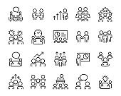set of people icons, meeting, work, business, skill, performance, management, team, group, discussion