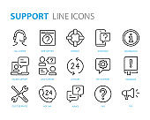 set of support icons, help, customer service, info, assistant, advise