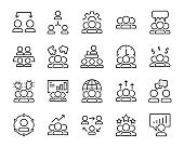set of meeting icons, people, teamwork, discussion