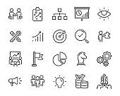 set of working icons, development, research, strategy, planning, startup,