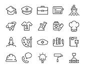 set of occupation icons, such as job, engineer, doctor, chef, worker