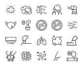 set of air pollution icons, such as dust, carbon, toxic, air filter