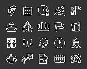 set of planning icon, such as game, strategy, plan, think