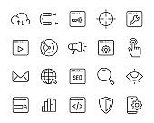 set of seo icons, marketing, strategy, ads, web