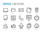 set of office icons, paper, document, laptop, computer, workplace, desk