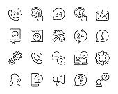 set support icons, call center, customer, assistant, info