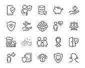 set of insurance icons, protect, saving, help