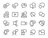 set of talk bubble icons, such as message, chat, phone, sms, call