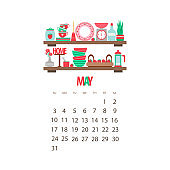 May month 2020 calendar. Kitchen shelf with dishes and spring decor with red strawberries, vector illustration