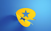 Yellow Chat Bubble with Star Shape on Blue Background