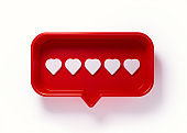 Red Speech Bubble with Five Hearts on White background