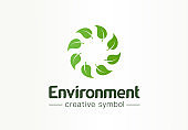Environment, green leafs swirl creative symbol concept. Fresh organic product abstract business idea. Refresh, recycle, nature icon
