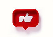 Red Speech Bubble with White Thumbs Up Icon on White background