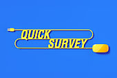 Yellow Mouse Cable Forming Quick Survey Text On Blue Background