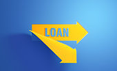 Yellow Arrow Symbol with Loan Text on Blue Background