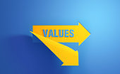 Yellow Arrow Symbol with Values Text on Blue Background