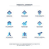 Growth arrows creative symbols set, font concept. Finance profit, bank, stock market abstract business pictogram